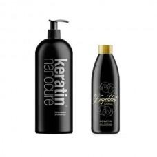 Keratin Nanocure Pre- Keratin Shampoo 1000ml & Angeldust 500ml